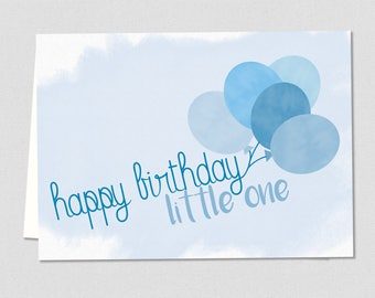 Happy Birthday Little One Blue Greeting Card - Printable