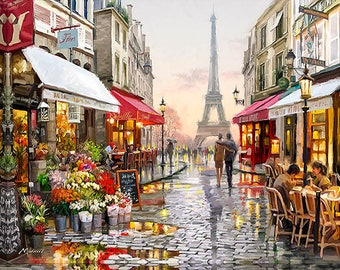 Frameless Paris Street DIY Painting By Numbers Handpainted Canvas Painting Home Wall Art Picture