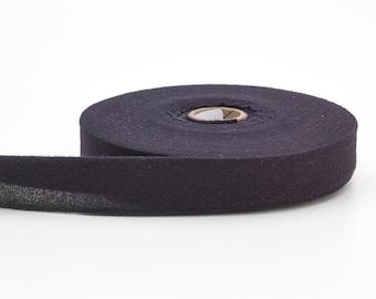 "Quilt binding, brushed, 2"" fold in half, finish 1"", 25 yds, Black"