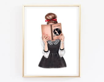 Instant download Fashion Illustration Reading girl art Fashion wall art Fashion sketch Fashion girl art Custom illustrations Fashion print