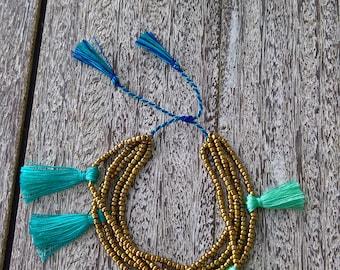 Beaded bracelet with tassels, Boho bracelet, beaded tassel bracelet