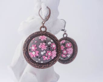 Embroidery earrings/Polymer Clay Earrings/Floral earrings/Pink flower earrings/Polymer clay jewelry/Romantic earrings/Gift for Her/Gift idea
