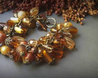 Large bracelet, yellow boho bracelet, autumn bracelet, boho style, bronze bracelet, yellow bead bracelet, summer bracelet, boho gift for her