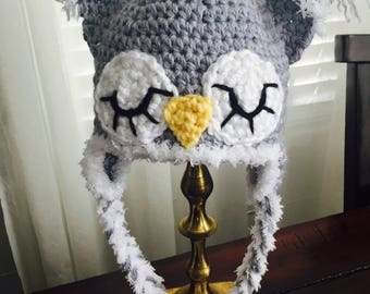 Baby Owl Hat, Gray Owl Hat, Newborn Photography Prop, Crochet Baby Hat, Soft Baby Hat, Baby Shower Gift, Five Times Designs
