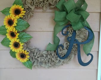 Sunflower Ruffled Burlap Wreath with Monogram