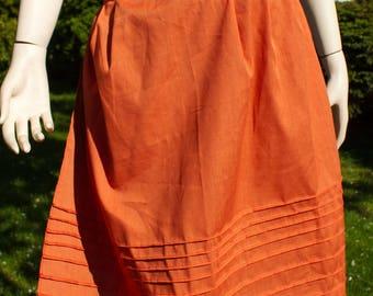 Burnt Orange Hostess Half Apron with Metal Clasp