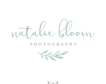 Leaf Watercolor Logo, Mint Watercolor Logo, Photography Logo, Watercolor Branch Photography Logo, Leaf Watercolor Logo Watermark, Mint Logo
