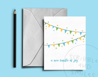 New bundle of joy- greeting card - new baby boy - new baby girl - New addition