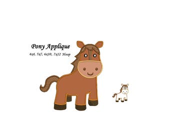 Pony Applique Machine Embroidery Design Pattern - Little Horse Applique Instant Download - 4x4 , 5x7,, 6x10 and 7x12 -hoops