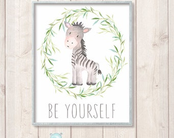 Safari Nursery Prints, Zebra Watercolor Animal Art, Safari Baby Shower Decor, Nursery Watercolor Print, Instant Download