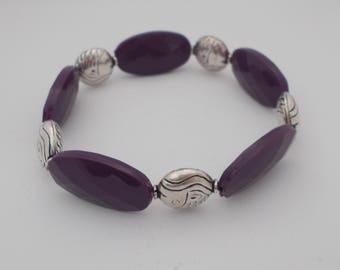 Purple & Silver Coloured Bracelet.
