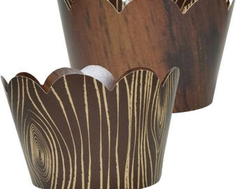 Wood Grain Cupcake Wrappers, Country Chic Theme, Woodsy, Rustic Wedding Party Supplies, 36 Cupcake Holders