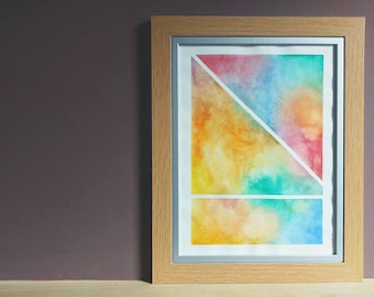 Original Art, Watercolour Painting, Abstract Art, Tape Resist, Original Geometric, Modern Art, Wall Decor, Home Decor, Original Watercolour