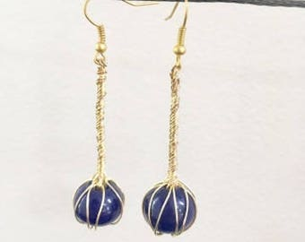 Midnight Blue Glass Bead Wire Wrapped Earrings