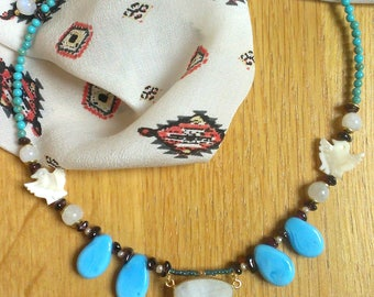 Moon stone, melted glass and turquoise necklace