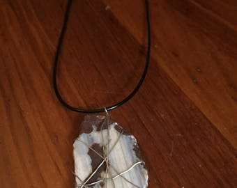 Wire Wrapped Striped Stone Necklace