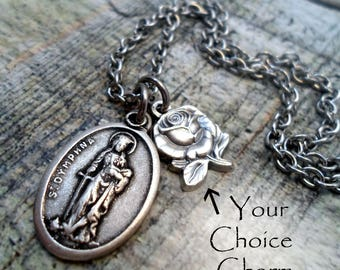 St. Dymphna Necklace, Depression, Anxiety, Mental Health Patron Saint, Catholic Jewelry, Confirmation Gift, Girls, Teens, Women All Sizes