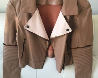 Leather moto unique jacket, Small/ petite, Tan/blush pink