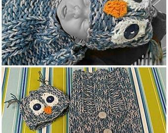 Newborn Owl Hat & Cocoon Set