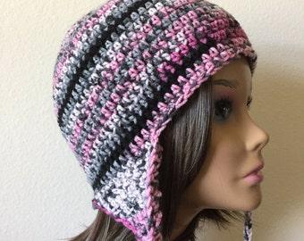 Earflap Hat, Free Shipping,   Pink Grey black crochet hat, Earflap hat,  teen or woman's Winter Sport Hat,