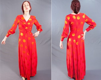 Fabulous Red ASIAN SILK Gown / 1960's Vintage MAXI Dress / size 2 / X-Small Ladies Formal Party Dress