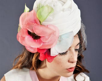 Adorable Mr. JOHN Caprice / Vintage 1960's Hat / Pink Flowers Rockabilly Hat / CLOCHE or PILLBOX Style Hat