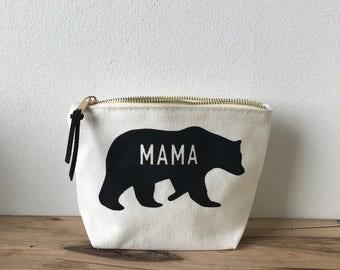 Mama Bear Canvas Pouch