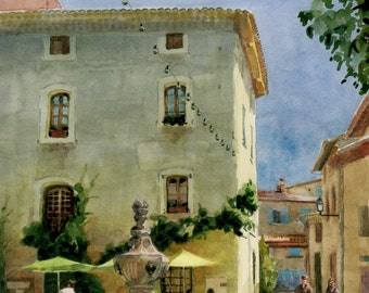 Fountain and Cafe in the square of the village Venasque in Provence, France Watercolor Belinda DelPesco
