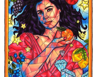 Marina and the Diamonds Art Print, Copic Marker Art, Marina Diamandis, Froot, Celebrity Portrait, Pop Art, Wall Decor, 11x14 Giclee Print