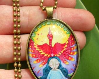 Meditating Girl and Phoenix Bronze Necklace Firebird Pendant Gift for friend Phoenix art girl yoga gift for sister meditation jewelery