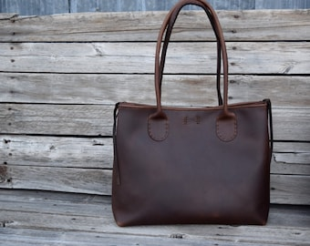 Large Leather Tote Bag  /  READY TO SHIP / Hand stitched leather Bag / Laptop Tote / Everyday Leather Tote / Feral Empire