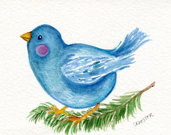 Blue bird  watercolor painting original, Happy Bird painting 4 x 6 original bird art, bird on branch