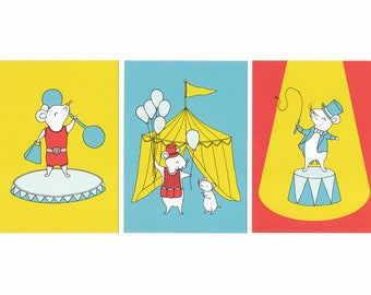Circus Mice Trio 5x7 Print Set