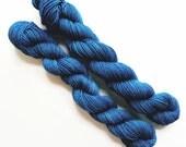 twilight / hand dyed yarn / mini skein / sock fingering yarn / merino wool superwash / embroidery / 4 ply /sparkle / deep teal blue yarn