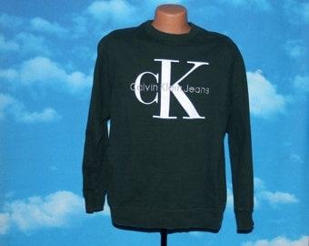 Calvin Klein Jeans Forest Green Pullover Sweatshirt Medium Vintage 1990s