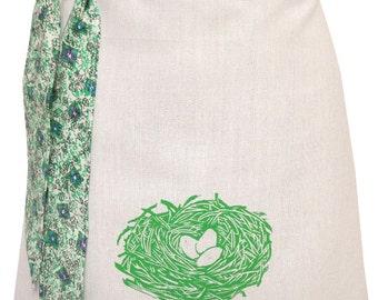 Organic block print nest apron