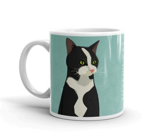 Cat Coffee Mug- Husband Gift- Tuxedo Cat Mug- Cat Gift- for Cat Lover Gift for Her- Cat Coffee Cup