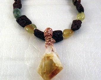 Natural Citrine, Brown Lava Stone, Prenhite Necklace