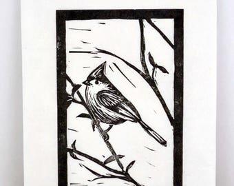 Original Linocut Print Titmouse Bird