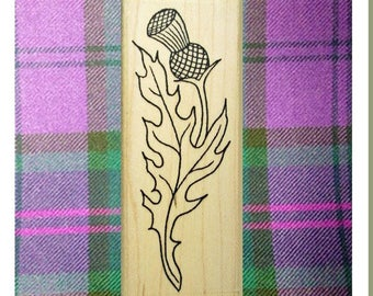 Long Scottish Thistle Rubber Stamp Icon of Scotland Borders #448T