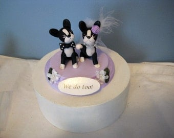 Boston Terrier dogs Wedding Cake Topper, Anniversary, event, handmade, clay, sculptures, OOAK, pawsnclaws, we do too