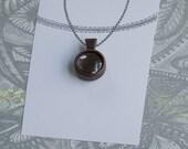 Fine artisan hardwood bezel pendant finished - Walnut - 18 mm cavity - (Z18c-W) - Organic bail