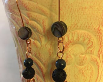Handmade Copper Ear Wires featuring abalone, black lava beads and dark blue bead with a delicate swirl on the bottom