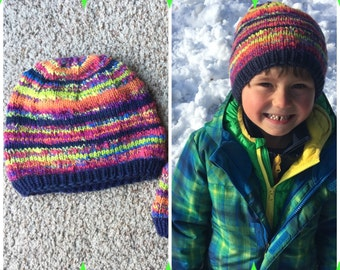 Rainbow Hat~ toddler or small child~ hand knit ~ handspan ~ merino