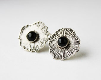 Onyx Earrings, sterling silver post earrings, black semiprecious etched flower jewelry