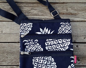 Personalized Pineapple Messenger Bag - Mini Ipod Purse - Tablet Purse - Personalized Cross Body Bag -Includes Name or Monogram -