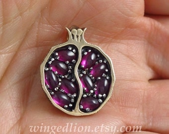 Small JUICY POMEGRANATE bronze & silver pendant with lab rubies - Ready to ship