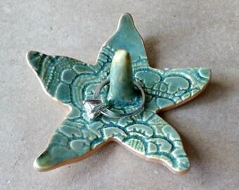 Ceramic Starfish Ring Holder Bowl Dark Moss Green edged in gold
