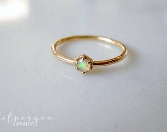 3mm Ethiopian opal 14k SOLID GOLD ring. HEXAGON ring geometric stacking ring opal gemstone