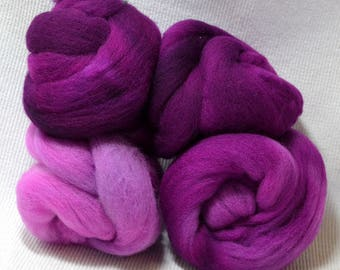 NEW Hand Dyed Gradient Fiber Set - American Targhee Combed Top in Violent Violet Semi Solid 2 ounces - Play With Your Fiber!